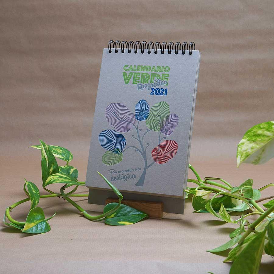 Portada del calendario letterpress 2021, este año dedicado al medio ambiente, con curiosidades naturalistas y retos medioambientales.