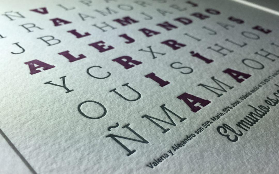 Una sopa de letras en letterpress para toda la familia