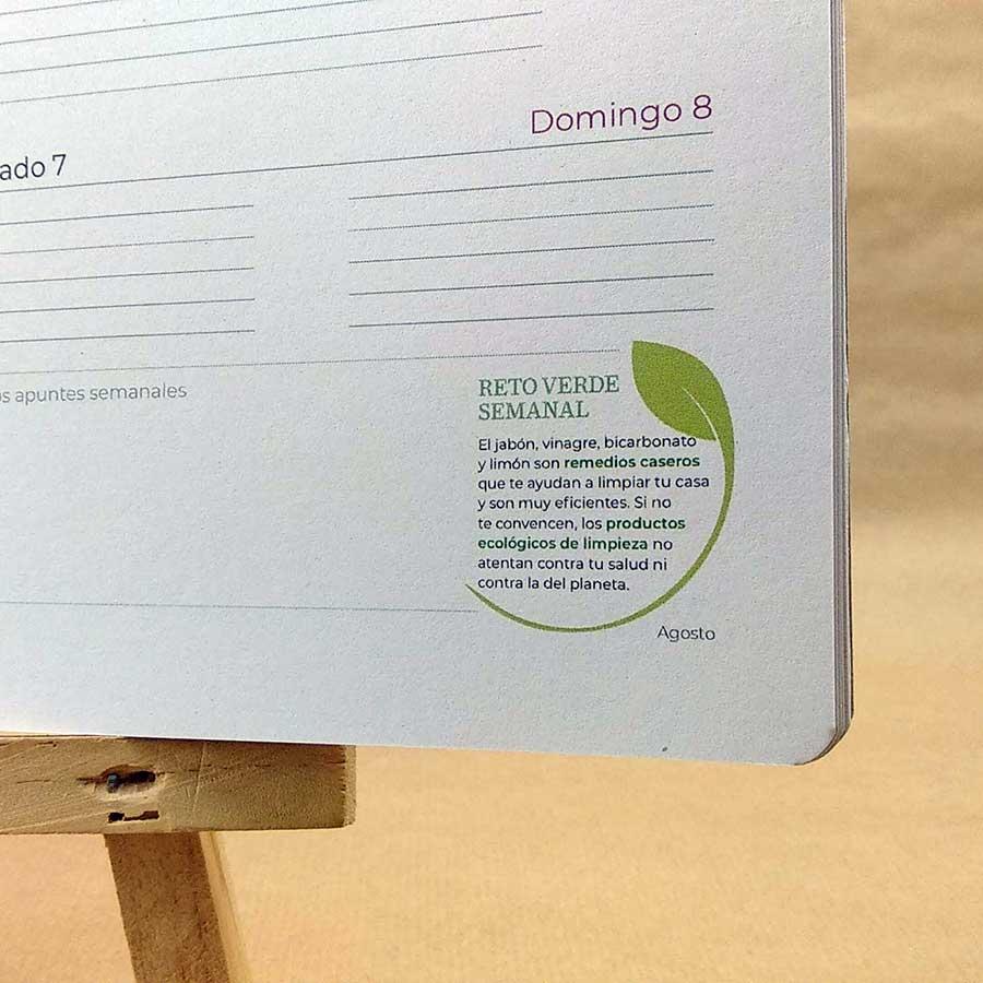 Detalle de reto verde medioambiental de la agenda personalizable 2021 de Tiporium