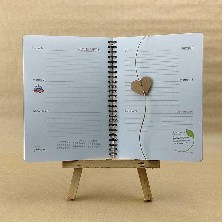 Detalle de interior personalizable de la agenda de Tiporium
