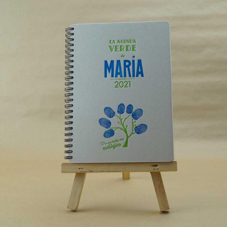 Portada de agenda artesanal personalizable, muestra el color azul disponibles