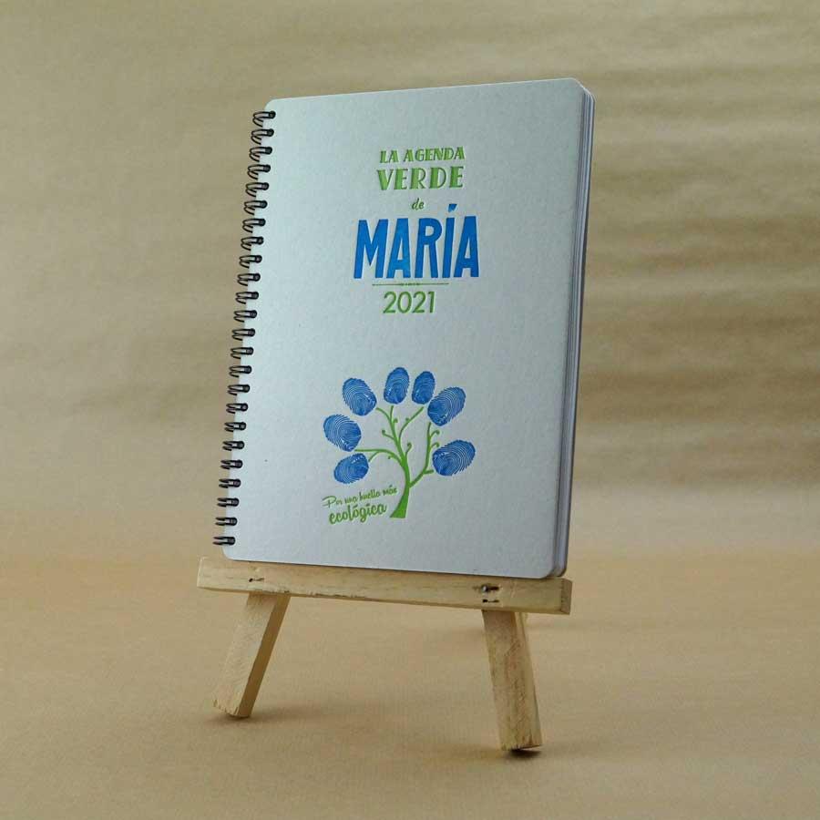 Portada de agenda artesanal personalizable, muestra el color azul