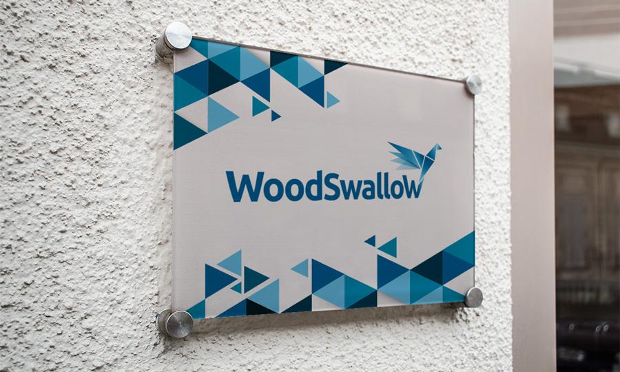 Ejemplo de cartel de la puerta de oficinas de Woodswallow