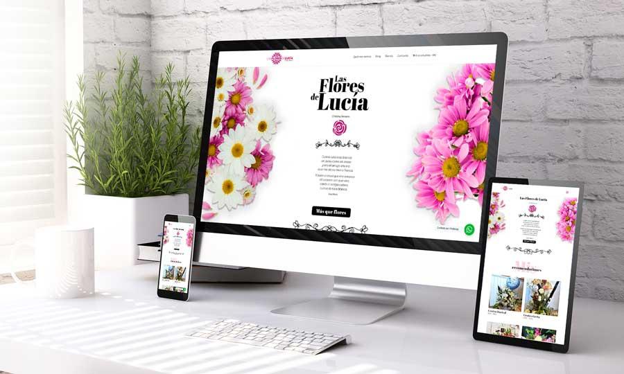 Presentación de diseño de página web adaptativa de Las Flores de Lucía, floristería de Sevilla Este