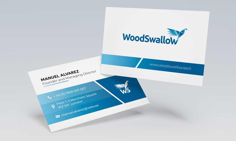 Tarjetas de visita de Woodswallow. Se muestran el adverso y el reverso con información en inglés