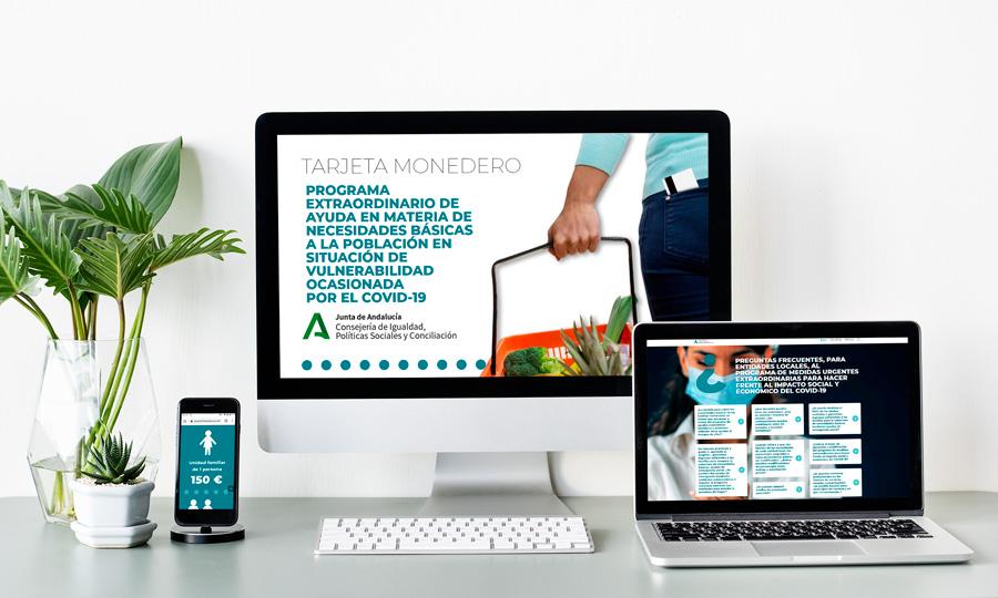 Diferentes partes de la página web https://tarjetamonedero.medidassocialescovid19andalucia.com de la Junta de Andalucia