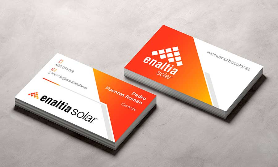 Presentación mockup de tarjetas de visita para Enaltia Solar