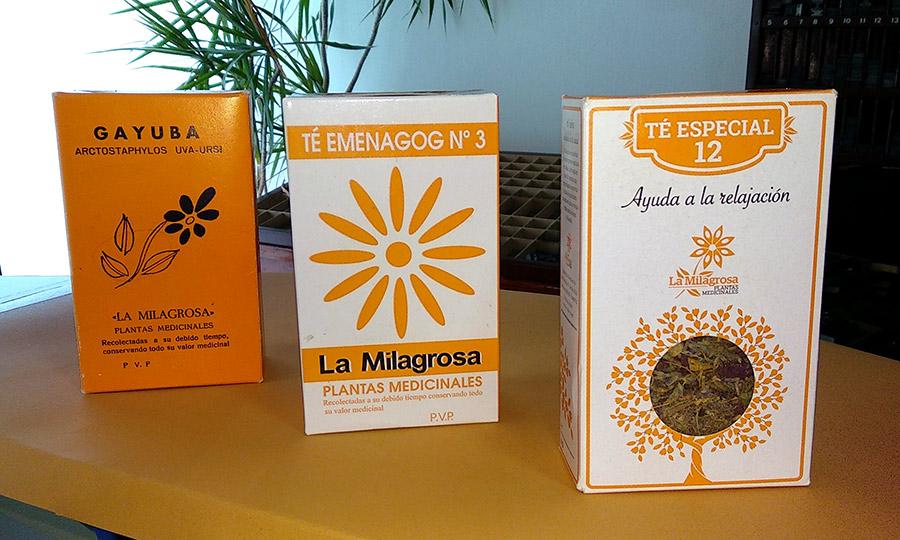 Cajas de té utilizadas desde hace más de 60 años y nueva imagen que mantiene la línea de La Milagrosa