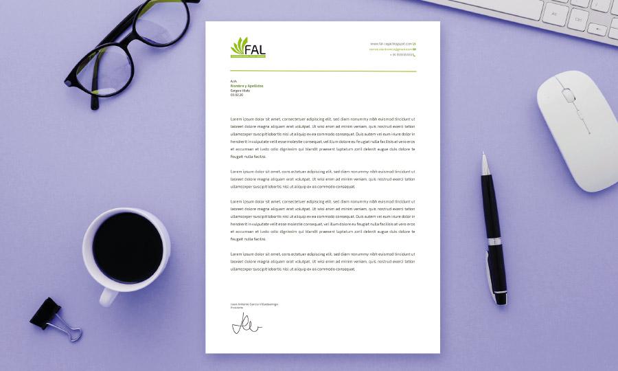 Modelo de carta adaptado a la imagen corporativa de la Federación Andaluza de Librerías
