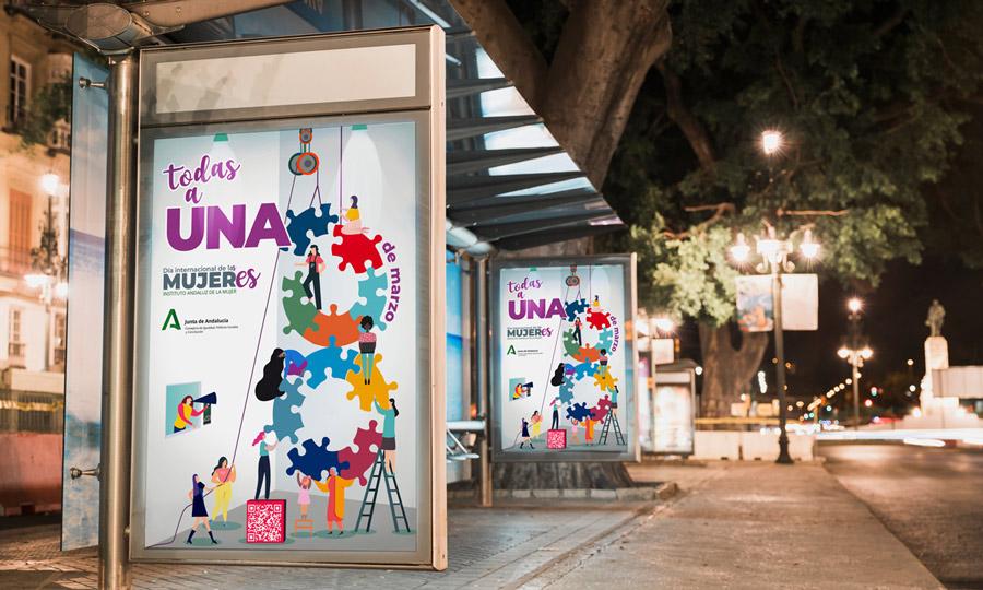 Cartel de la campaña del Día Internacional de las mujeres. 8M del Instituto Andaluz de la Mujer