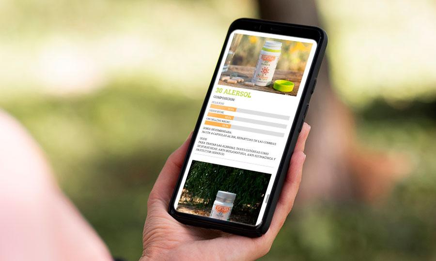 Imagen de la versión móvil de la web de Plantas Medicinales la Milagrosa