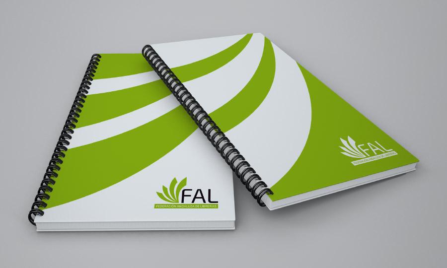 Modelo de libreta adaptada a la imagen corporativa de la Federación Andaluza de Librerías