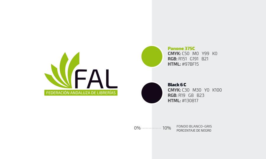 Logotipo de la Federación Andaluza de Librerías con sus colores corporativos