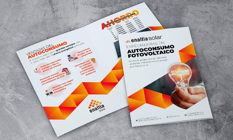 Presentación mockup de flyer de promoción de Enaltia Solar